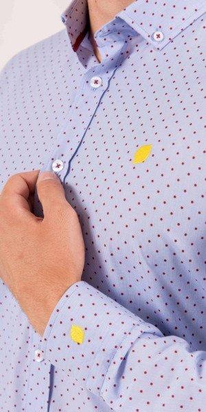 camisa-hombre-sirlemon-azul-topitos-rojos