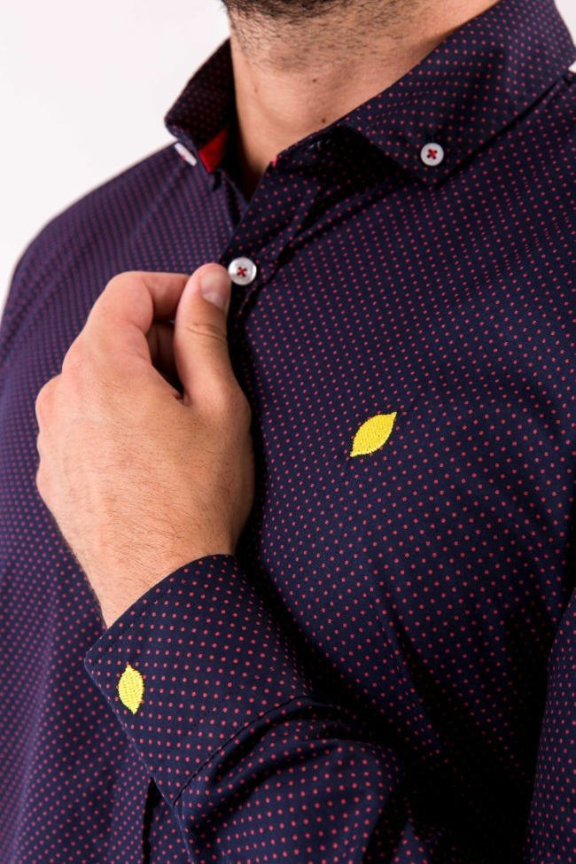 camisa-de-hombre-sir-lemon-marino-topitos-rojos